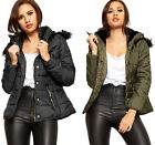 Womens Faux Fur Hooded Padded Quilted Zip Coat Top Ladies Puffer Bomber Jacket