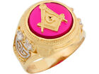 10k or 14k Two Tone Gold Simulated Ruby Freemason Masonic Mens Ring