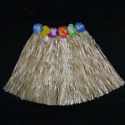 Fashion Kids Adult Hawaiian Hula Grass Skirt Flower Wristband Party Beach DressB