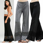 US SALE US Women Career Casual High Waist Flare Wide Leg Pants Palazzo Trousers