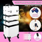 7 in 1 Portable Cosmetics Beauty Makeup Case Carry Bag Organiser Trolley Silver