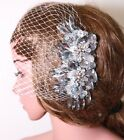 Bridal Flower Clip Wedding Hair Accessories Crystal Headpiece Birdcage Veil