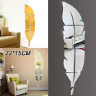 Popular Feather Shape Wall Sticker Home 3D Mirror Wall Decorative Stickers
