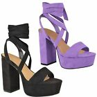 Womens Ladies New High Block Heel Ankle Lace Tie Up Platform Sandals Shoes Size