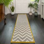New Long Silver Grey Ochre Yellow Hall Runner Rugs Soft Chevron Hallway Runners
