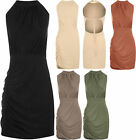 New Womens Halterneck Stretch Bodycon Ruched Button Top Ladies Mini Dress