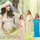 Women's Off Shoulder Ruffle Sleeve Lace Maternity Gown Maxi Photography Dress US