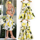 UK Baby Girls Floral Lemon Dress Backless Sundress Kids Summer Clothes 0-24M