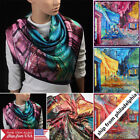 "Fashion Scarf Women's Oil Painting Printed Large Silk Satin Square Scarf 35""*35"""