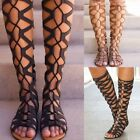 Women Gladiator Strappy Sandals Knee High Cut Out Zipper Ladies Flat Summer Shoe