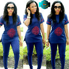 New African Dresses For Women Short Sleeve Fashion design Clothes Top with Pants