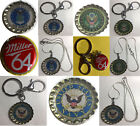 Miller 64 Beer bottle cap US Navy Air Force Army Keychain Necklace Handmade