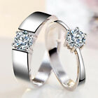 Fashion Women Men Resizable Wedding Engagement Couple Ring Silver Plated