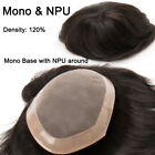 Fine Mono Durable Toupee Men Human Hair Hairpiece Replacement System Hand Tied