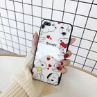Fashion Cartoon Cute Snoopy love Glossy Glass Case Cover for iPhone X 8 7 6 Plus