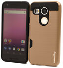 For LG Nexus 5X Case Premium Hybrid Credit Card Slot Armor Shell Cover