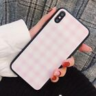 Trendy Pink plaid Checker Girl Glossy Glass Case Cover for iPhone X 8 7 6S Plus