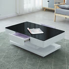 White Coffee Table with 2 Drawers, High Gloss and Painting Tempered Glass