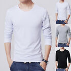Men Summer Slim Fit Long Sleeve Shirt T-shirts Tee Tops Blouse Solid Color