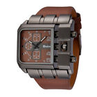 OULM Brand Unique Design Square Mens Wristwatch Leather Strap Quartz Watch New
