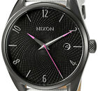 NEW NIXON Gunmetal White The Bullet Leather Stainless Steel Date Watch A473486