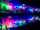 Flashing LED Blue Happy Birthday Banner Bunting Party Decorations Glows