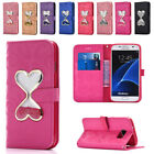 Heart Bling Glitter PU Lether Wallet Case Cover for Samsung S5 S6 S7 S8 S9 Edge