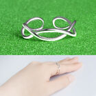 Knitting Twist Lady Girl 925 Sterling Silver Plt Adjustable Open Band Thumb Ring