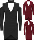 Womens Choker Bodycon Dress Ladies Long Sleeve Choker Ruched Wrapover New 8-14