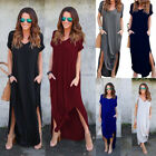 Womens T-Shirt Long Maxi Dress Split Evening Party Solid Shi