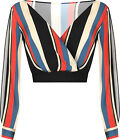 Womens Striped Print Crepe Long Sleeve Plunging V-Neck New Ladies Short Top