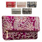 Ladies Fx Velvet Floral Foldover Clutch Bag Flower Evening Bag Handbag KT2183
