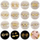 316L Stainless Steel Fashion Gold Plated Women Lady Stud Earring Screw Back Gift