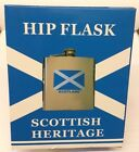 Scottish Heritage Stainless Steel Hip Flask 6oz Scottish Twin Flags