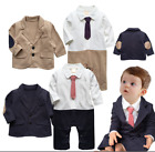 Baby Boy Wedding Tuxedo Suit Formal Wear Dress Outfit Romper+Jacket Clothes Set