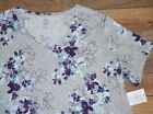 Croft & Barrow Classic Tee V Neck Purple Floral Short Sleeve Top Plus Sizes