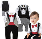 Baby Toddler Boy Wedding Formal Party Tuxedo Ruffle Suit Romper Outfit Clothes