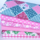 Pretty pink & green patchwork effect 6 piece fabric bundle & polycotton fabrics