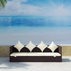 Patio Outdoor Sun Lounger Bed Rattan Wicker Brown Day Bed Sofa Garden US Stock N