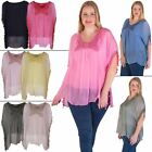 Womens Tunic Top Ladies Italian Lagenlook Embroided Scoop Neck Tasselled Sleeves