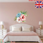 Pink Hibiscus Flower Leaves Wall Sticker Art Mural Home Décor Decal Tropical