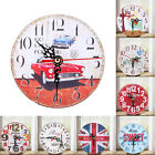 Large Vintage Wooden Wall Clock Rustic Antique Shabby Chic Retro Kitchen Decor