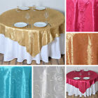 "6 pcs EMBROIDERED TAFFETA 72x72"" TABLE OVERLAYS Wedding Party Catering Linens"