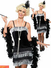 Ladies Flapper Costume Black Silver Charleston Womens 1920s Fancy Dress Outfit