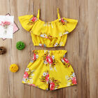 Внешний вид - 2pcs Toddler Kid Baby Girl Clothes Floral Ruffle T Shirt Tops Shorts Outfits Set