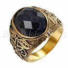 Men's Vintage Gold Stainless Steel Patterned Purple Sand Stone Band Ring #7- #12 image