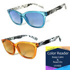 1 or 2 Pairs Cat Eye Frame Full Magnified Tinted Color Lens Reading Sunglasses