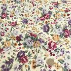 Lilac roses floral 100% COTTON 112cm wide per FQ/Half metre craft/sewing fabric