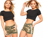 Womens Camouflage Army Print Side Striped Hot Pants Ladies Distressed Shorts Rip