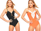 Womens Floral Lace Mesh Keyhole Sleeveless Slinky Bodysuit Ladies Leotard Top